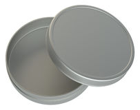 Metal round box on white background. 3D illustration Stock Photography
