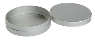 Metal round box on white background. 3D illustration Stock Image