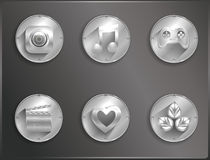 Metal round icons flat. Royalty Free Stock Photos