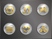 Metal round icons flat. entertainment Royalty Free Stock Photography