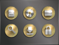 Metal round icons flat. Stock Photography