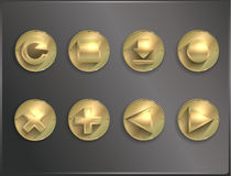 Metal round icons flat. Royalty Free Stock Photo