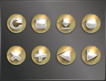 Metal round icons flat. Royalty Free Stock Photography