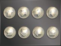 Metal round icons Steampunk, flat. Arrows Stock Photo