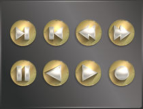 Metal round icons Steampunk, flat. Arrows Stock Images