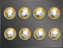Metal round icons Steampunk, flat Stock Images