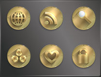 Metal round icons Steampunk, flat. Smartphone Royalty Free Stock Photography