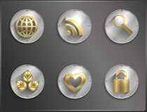 Metal round icons Steampunk, flat Royalty Free Stock Photos