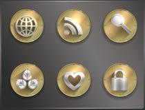 Metal round icons Steampunk, flat Stock Photos