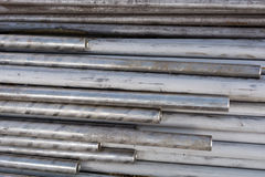 Metal round pipe. Pipe stainless round metal closeup Royalty Free Stock Photo