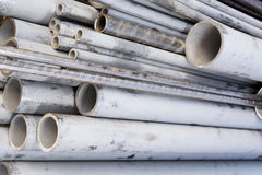 Metal round pipe. Pipe stainless round metal closeup Stock Photography