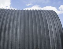 Metal round roof hangar archю. Metal round roof hangar arch Stock Photos