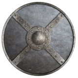 Metal round shield isolated on white Stock Photography