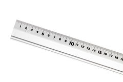 Metal ruler. Isolated on white background Stock Photo