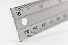 Metal ruler isolated on white Stock Photography