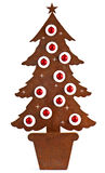 Metal rust christmas tree. Decorated with red balls stock photos