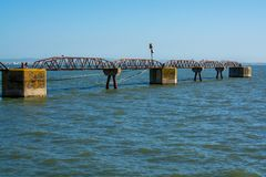 Metal rusted structure pier Stock Photo