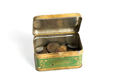 Metal Rusty Box With Coins Stock Image