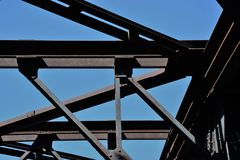 Metal rusty bridge element in berlin.  stock image