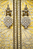 Metal rusty  brown    morocco in gold   facade home and safe pad. Metal brown    morocco in    africa the old wood  facade home and rusty safe padlock Royalty Free Stock Photo
