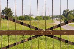 Metal rusty fence Royalty Free Stock Images