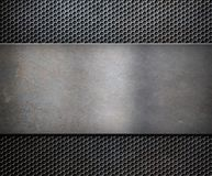 Metal rusty plate over grid background Royalty Free Stock Photos