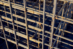 Metal rusty reinforcement bars. Reinforcing steel bars for building armature. Background Royalty Free Stock Photos