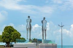 Metal rzeźba tytułował mężczyzna, kobieta, Ali i Nino Batumi, Adjara, Gruzja obrazy stock