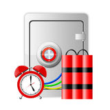 Metal safe, alarm clock and dynamite on white Royalty Free Stock Photography
