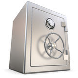 Metal safe. Closed and locked silver metal safe 3D illustration on white Stock Photo