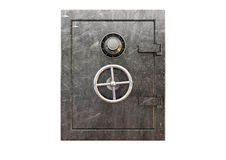 Metal Safe Front. A regular metal safe with a combination dial and a handle on an isolated background Stock Photo