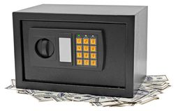 Metal safe is on hundred dollar bill. Royalty Free Stock Photography