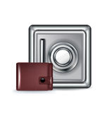 Metal safe with leather wallet  Stock Images