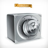 Metal safe vector icon. Metal safe 3d vector icon Royalty Free Stock Photo