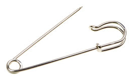 Metal safety pin isolated on white Royalty Free Stock Photography