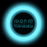 Metal Sale with blue lights with black circle stock image