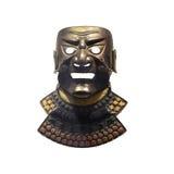 Samurai mask. Metal samurai mask isolated on a white background Stock Photos