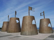 Metal sandcastles. Large metal sandcastle structures on the promenade Stock Photo