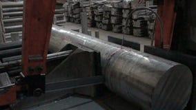 Metal saw cuts steel rod stock video