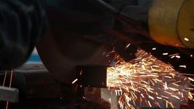 Metal saw cutting steel stock footage