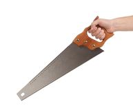 Metal saw in hand. Stock Photos