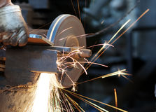 Metal sawing. Close up in the factory Stock Photography