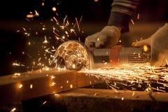 Metal sawing close up Royalty Free Stock Photo