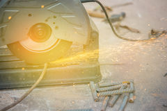 Metal sawing sparks while cutting steel Royalty Free Stock Photos