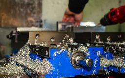 Metal saws for cnc machining. Metal saws for cnc machining and preparing a new product stock image