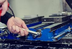 Metal saws for cnc machining. Metal saws for cnc machining and preparing a new product royalty free stock images