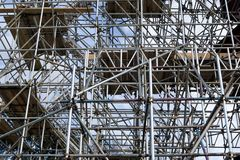 Metal scaffold on construction site Royalty Free Stock Photo