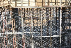 Metal scaffoldings used to support floor slab formwork Stock Photos