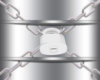 Metal Schablone mit Ketten und padlock Lizenzfreie Stockbilder