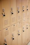 Metal School Lockers with Locks Stock Photo